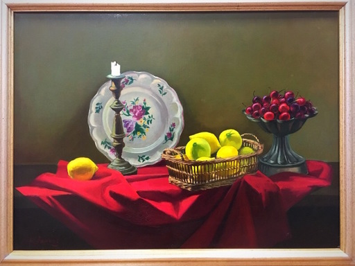 Henri F. JANNOT - Pittura - nature morte aux citrons