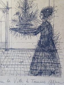 Jean CARZOU - Dibujo Acuarela - Jeune fille