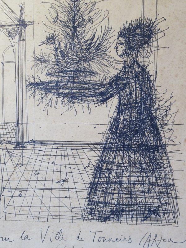 Jean CARZOU - Drawing-Watercolor - Jeune fille