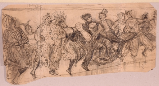 "Reinhold HOBERG - 水彩作品 - ""Masquerade Ball"", Drawing, 1888"
