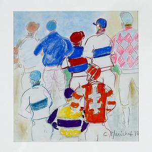 Claude MARECHAL - Disegno Acquarello - Les Jockeys