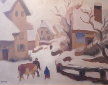 Jules Émile ZINGG - Pintura - neige dans le Morvan