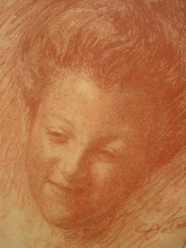 Léon DETROY - Dessin-Aquarelle - PORTRAIT DE   JEUNE  LIMOUSINE