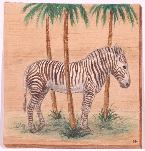 """Martha HOFRICHER - Zeichnung Aquarell - """"Zebra"""", Watercolor, 1920s"""