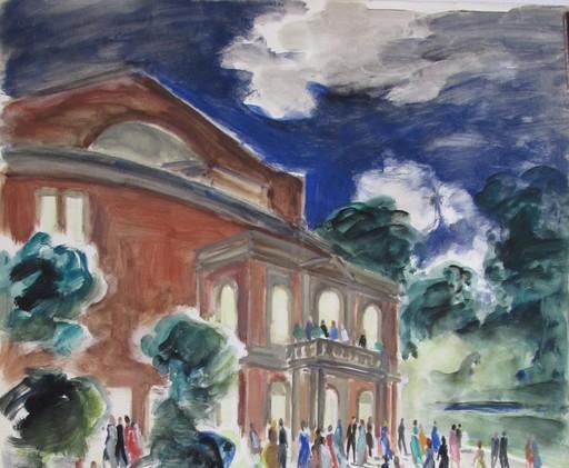 Claude RÉMUSAT - Drawing-Watercolor - ENTRACTE A BAYREUTH - PALAIS DU FESTIVAL