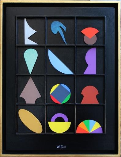 Lucio DEL PEZZO - Pintura - Casellario nero con 12 elementi