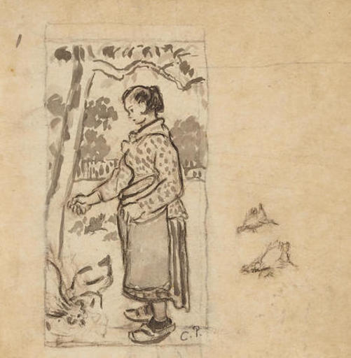 Camille PISSARRO - Zeichnung Aquarell - Femme aux poules