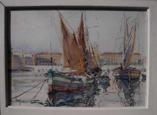 Georges CHAPPUIS - Dibujo Acuarela - Tartane port de Nice