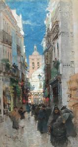 Frank HIND - Dibujo Acuarela - A Spanish Calle, Séville