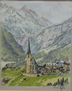 Hans FIGURA - Druckgrafik-Multiple - Heiligenblut /Alpen