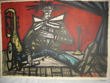 Bernard BUFFET - Grabado - FINAL CLOWN A LA TROMPETTE