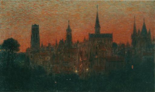 Gabriel Marie BIESSY - Painting - Ciel rouge, 1905-1915 ca