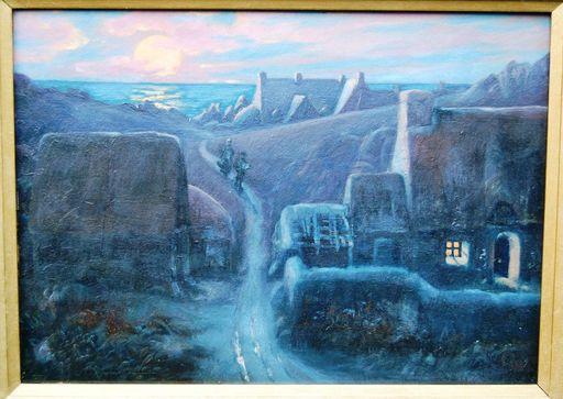 Étienne BOUILLE - Painting - Hameau breton au crépuscule