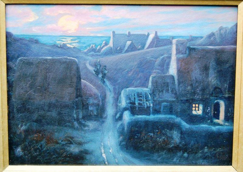 Étienne BOUILLE - Pittura - Hameau breton au crépuscule