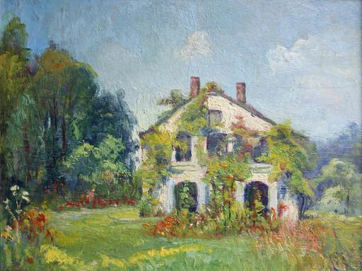 Georges LE MEILLEUR - Pittura - La maison du peintre à Amfreville la Mivoie