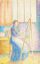 Hippolyte PETITJEAN - Drawing-Watercolor - La femme de l'artiste à son chevalet