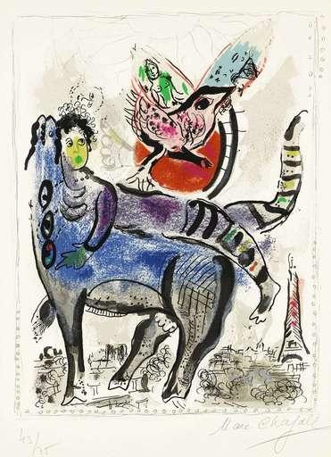 Marc CHAGALL - Grabado - La Vache bleu
