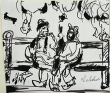 Henry Maurice D'ANTY - Dibujo Acuarela - Les clochards