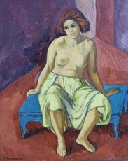 Simon MONDZAIN - Painting - Nue Assise