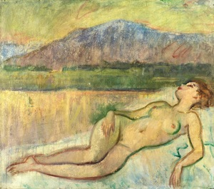 Boris Anatolievich SHOLOKOV - Pintura - Nude on the background of the Bear Mountain