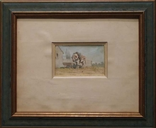 """Theodore FORT - Dibujo Acuarela - """"Loaded Horse"""" by Theodore Fort, 19th Century"""