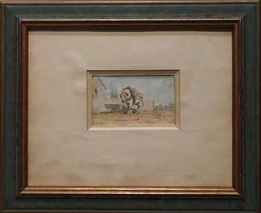 "Theodore FORT - Drawing-Watercolor - ""Loaded Horse"" by Theodore Fort, 19th Century"