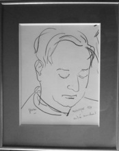 André MARCHAND - Dibujo Acuarela - Portrait de Jean GIONO