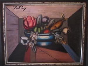 Franz PRIKING, Compotier aux fleurs et aux fruits