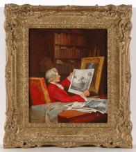"John Arthur LOMAX (1857-1923) -  ""A rare print"", oil on panel, late 19th century"
