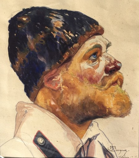 Maurice Jaubert DE BECQUE - Dibujo Acuarela - Tête de soldat Wetzlar 1915