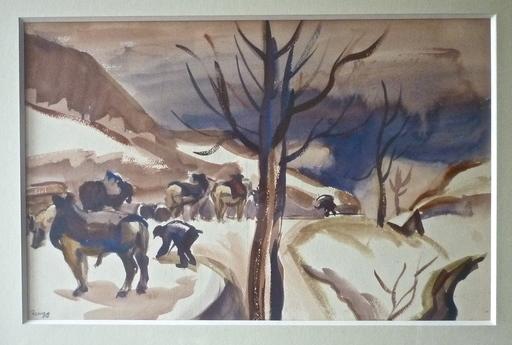 Jules Émile ZINGG - Zeichnung Aquarell - Travaux des champs en hiver