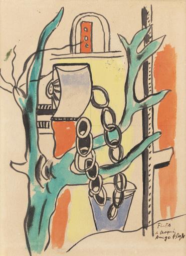 Fernand LÉGER - Drawing-Watercolor - LES PUITS