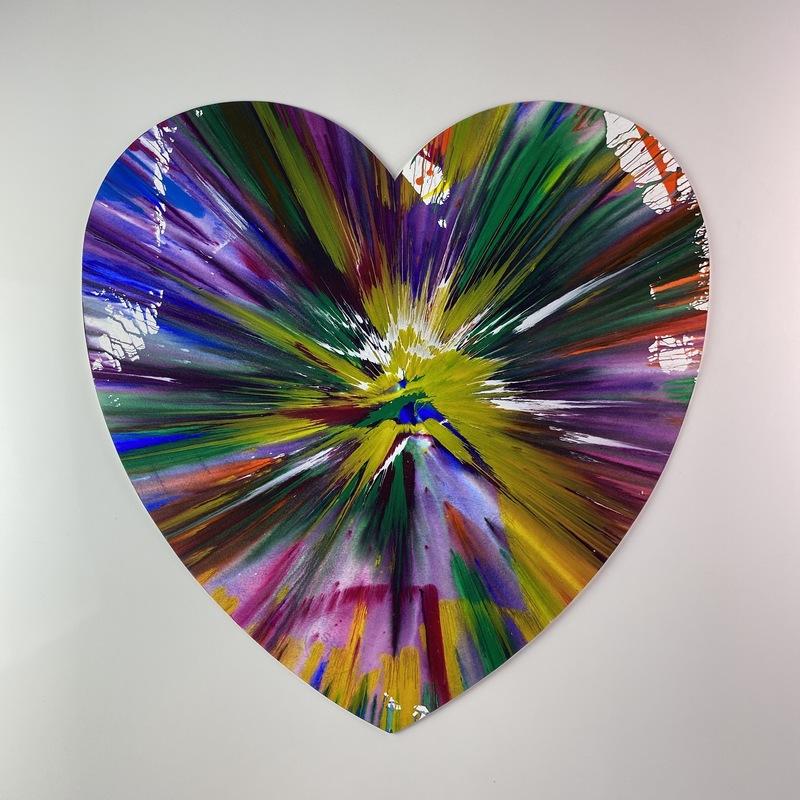 Damien HIRST - Zeichnung Aquarell - Heart spin