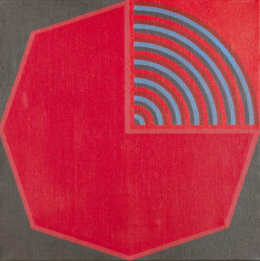André GOFFIN - Gemälde - Polychrome rouge / octogonale bleu/rouge