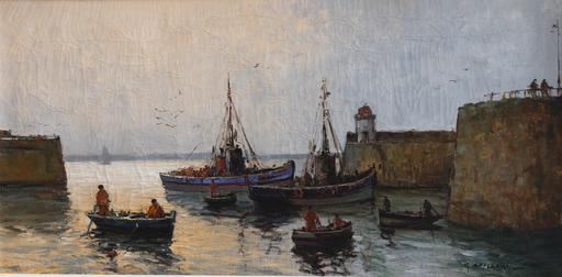 Gabriel DESCHAMPS - Gemälde - Fishing boats