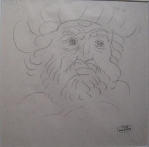 André DERAIN - Drawing-Watercolor - PORTRAIT D HOMME