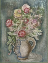 Jankel ADLER - Painting - Terracotta Vase of Flowers