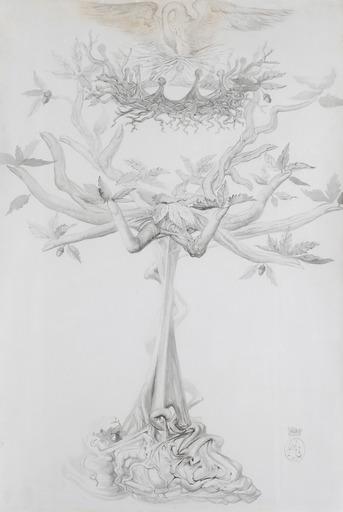 Salvador DALI - Drawing-Watercolor - La vie - Projet pour un candelabre