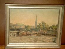 Otto SCHULZ-STRADTMANN - Painting - Blick auf Hamburg von der Außenalster