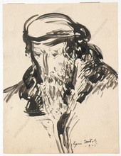 "Boris DEUTSCH - Dibujo Acuarela - ""Old Jew"", drawing"