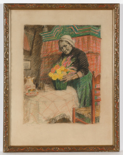 """Max FABIAN - Drawing-Watercolor - """"Woman arranging flowers"""" color drawing"""