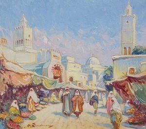 Martin LINDENAU - Peinture - Orientaliste - Kairouan -
