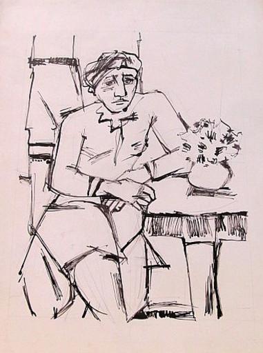 Erich HARTMANN - Dessin-Aquarelle - #19895: Am Tisch sitzende Frau.