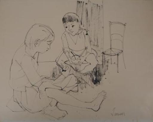 Jean JANSEM - Dibujo Acuarela - Playing children