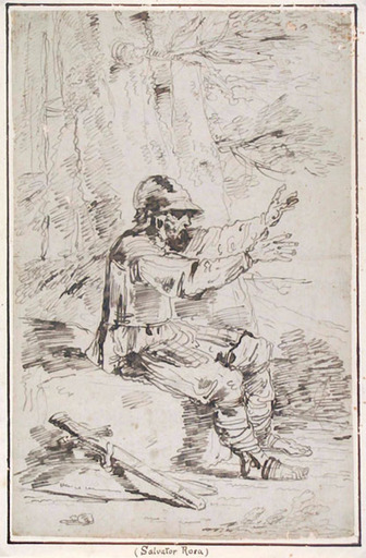 Felice GIANI - Dibujo Acuarela - AN ARMED MAN, SEATED ON A ROCK