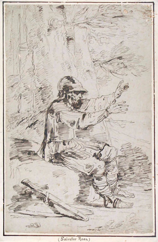 Felice GIANI - Drawing-Watercolor - AN ARMED MAN, SEATED ON A ROCK