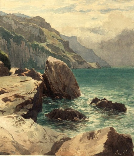Arthur CALAME - Zeichnung Aquarell - Vues du lac des Quatre Cantons