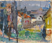 Michel KIKOINE - Drawing-Watercolor - Le village