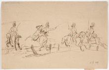 "Albrecht ADAM - Drawing-Watercolor - Albrecht Adam (1786-1862)-Attrib., ""Dragoons Attack"""