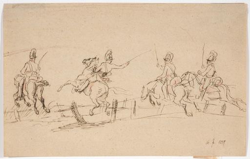 """Albrecht ADAM - Dibujo Acuarela - Albrecht Adam (1786-1862)-Attrib., """"Dragoons Attack"""""""